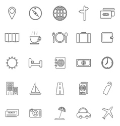 Travel line icons on white background vector