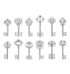 Vintage keys line icons vector