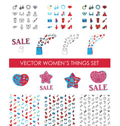 Woman accessories icons set of cosmetics clothes vector