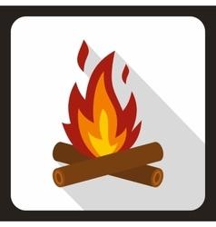 Burning bonfire icon flat style vector image
