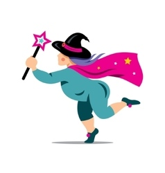 Halloween Witch with magic wand Cartoon vector image