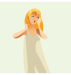 Girl woke up in a nightie and yawns vector