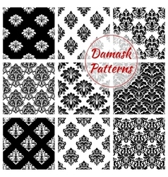 Damask floral ornate seamless patterns set vector image