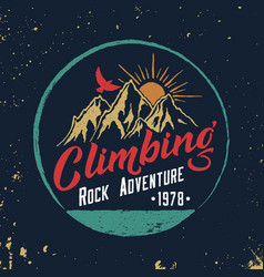 mountain climbing hand drawn emblem vector image