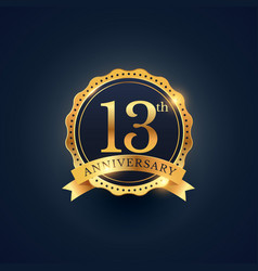 13th anniversary celebration badge label in vector