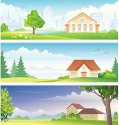 Urban and rural banners vector