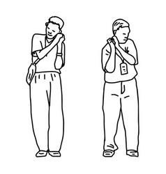 Two men doing sleep gesture vector