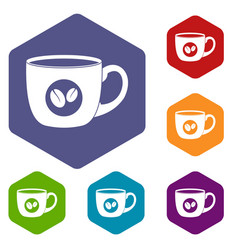 Cup of coffee icons set hexagon vector