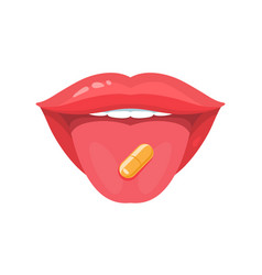 Pill on tongue vector