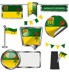 glossy icons with flag of province saskatchewan vector image