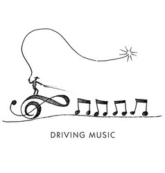 A whimsical cartoon called driving music vector