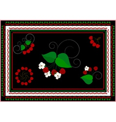 Frames and ornaments with cherry vector