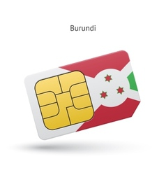 Burundi mobile phone sim card with flag vector