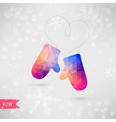 Mittens with rope in the form of heart christmas vector