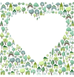 Blank heart made of trees and country houses vector