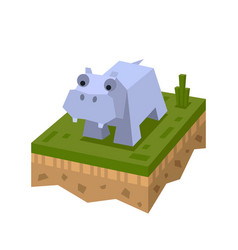 3d isometric hippo vector image vector image