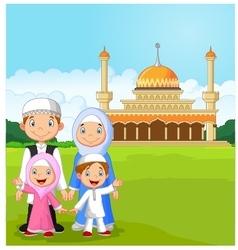 Cartoon happy muslim family vector