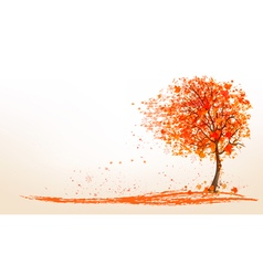 Autumn background with a tree and golden leaves vector