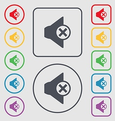 Mute speaker sign icon sound symbol symbols on the vector