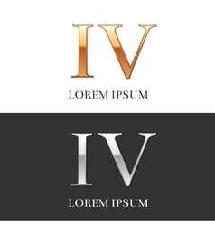 4 iv luxury gold and silver roman numerals sign vector