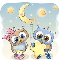 Owl Girl and Boy with a star vector image