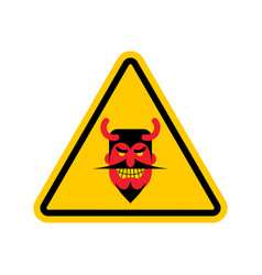 Attention devil dangers of yellow road sign satan vector