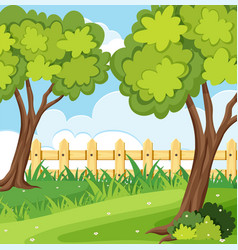 background scene with trees and fence vector image vector image
