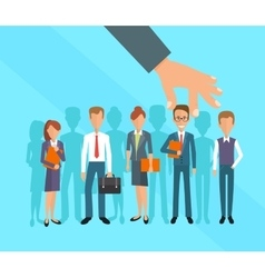 Business hand picking up a businessman human vector