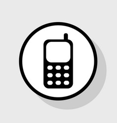 Cell phone sign flat black icon in white vector