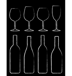 Chalk wine bottle and glass set vector