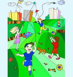 children color game kite flying vector image vector image