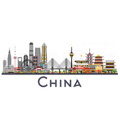 China city skyline isolated on white background vector