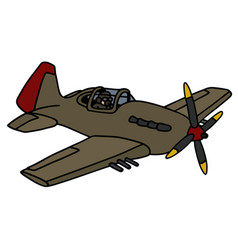 Classic propeller fighter vector