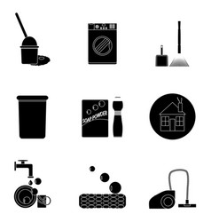 Clean up black set icons vector
