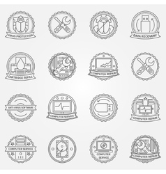 Computer service badges vector