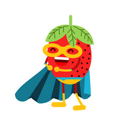 Cute cartoon smiling strawberry superhero in mask vector
