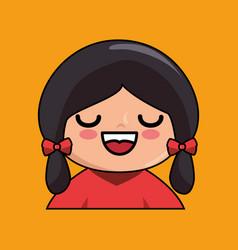 cute japanese doll kawaii style vector image