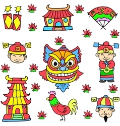 element Chinese doodles vector image vector image