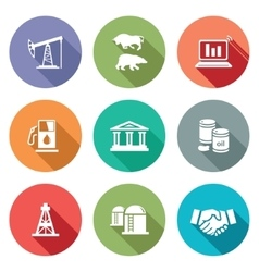 Exchange of gas and oil industry Icons Set vector image vector image