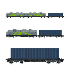 Green locomotive with cargo container vector
