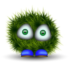 Green shaggy creature vector