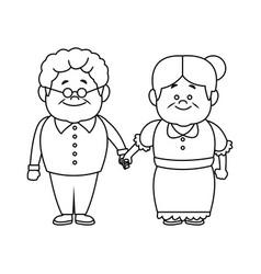 happy grandpa and grandma parents standing vector image vector image