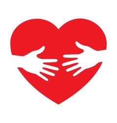 heart icon with caring hands logo vector image vector image