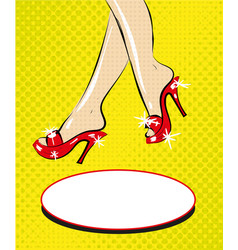 Legs of woman in red shoes on heels pop art comic vector