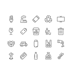 Line Garbage Icons vector image vector image