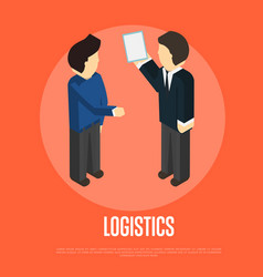 Logistics isometric banner with people vector