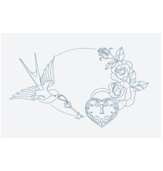 love theme coloring page old school tattoo signs vector image
