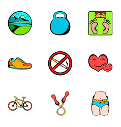 Muscle icons set cartoon style vector