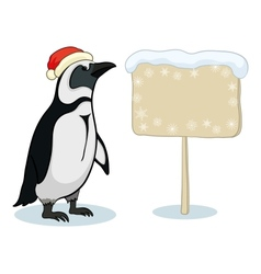 Penguin with Christmas poster vector image vector image