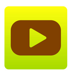 Play button sign brown icon at green vector